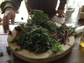 Platter of foraged greens