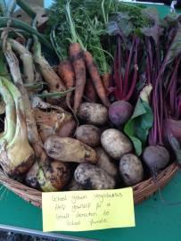Basket of vegetables grown at Hillside Primary school
