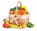 basket of vegetables, fruit and flowers
