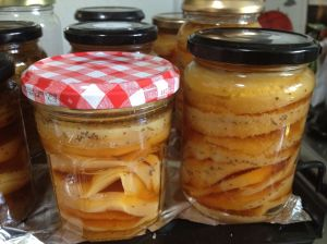 jars of pickled yellow beetroot