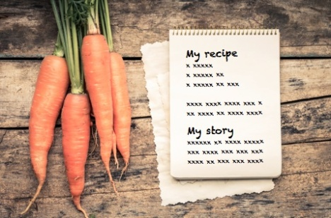 A recipe and a bunch of carrots