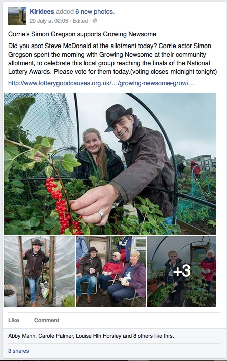 Live in Kirklees facebook post about our allotment
