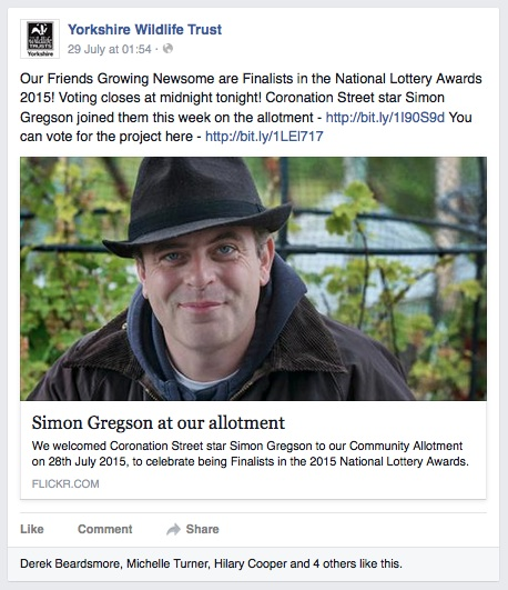 YWT facebook post about our allotment