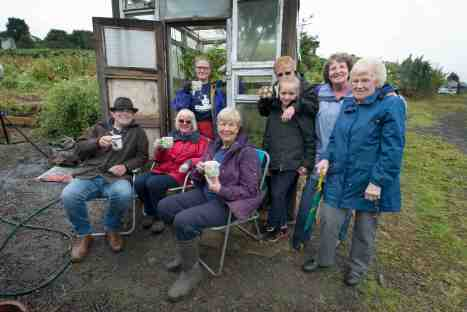28 July 2015. Coronation Street star Simon Gregson (Steve McDonald) visiting the Growing Newsome allotment in Huddersfield.